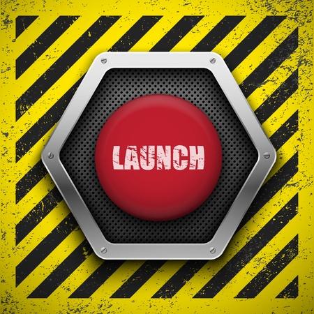 bombe atomique: Lancement fond de bouton Illustration