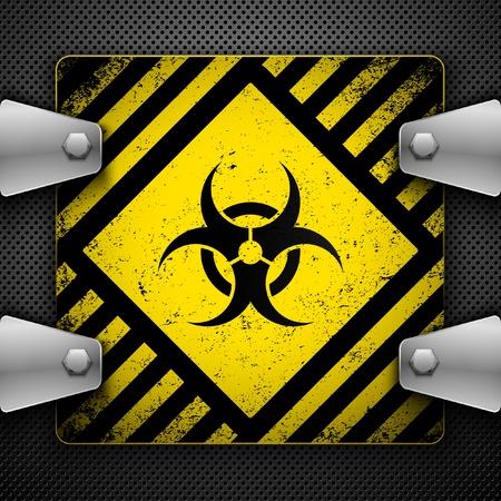 radiacion: Signo de peligro biol�gico. Ilustraci�n vectorial.  Vectores