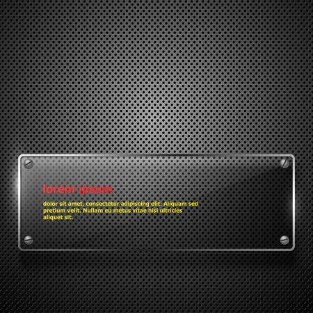 dark fiber: Abstracte metalen achtergrond met glazen kader. illustratie. Stock Illustratie