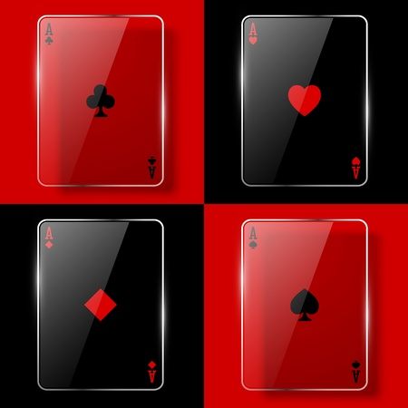 Glass poker aces. Vector illustration. Eps10