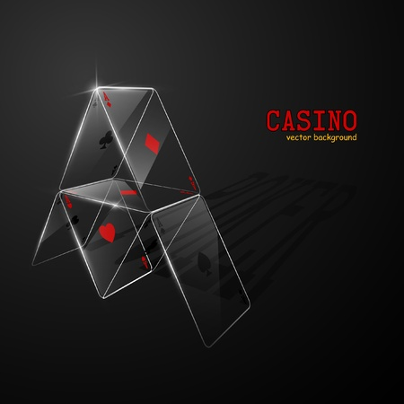 Glass house of cards. Vector illustration. Ilustração