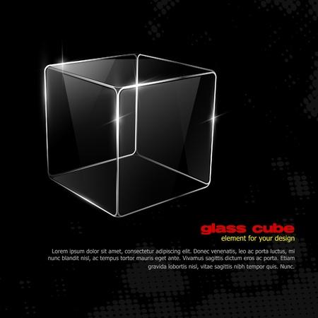 verre: Cube de verre. Element pour votre conception. Eps10 Illustration