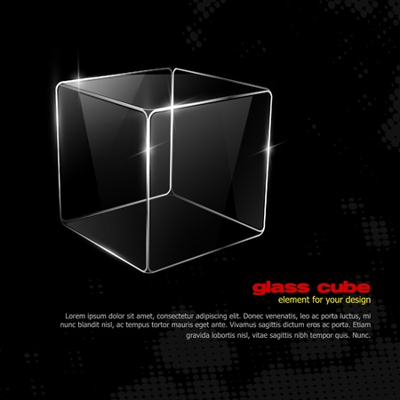 Glass cube. Element for your design. Eps10