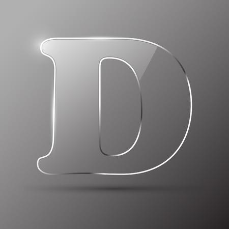 Glass letter D. Vector illustration. Stock Vector - 10399713