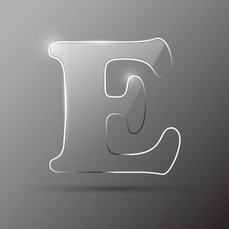 alphabetical order: Glass letter E. Vector illustration.