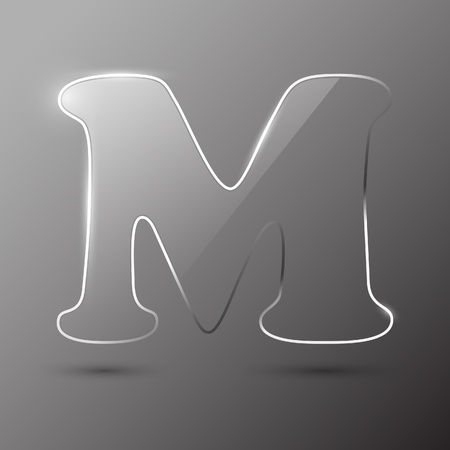 writing a letter: Glass letter M. Vector illustration.