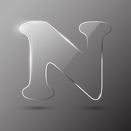 alphabetical order: Glass letter N. Vector illustration.