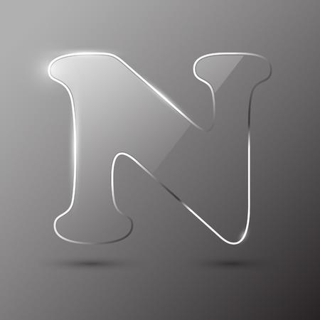 alfabético: Glass letter N. Vector illustration.