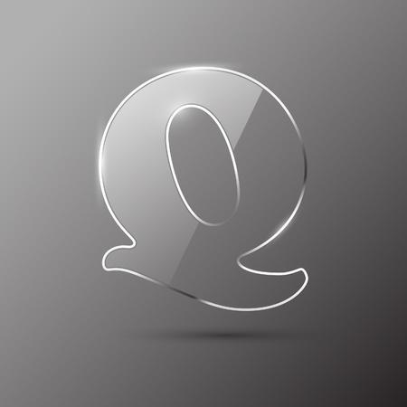 Glass letter Q. Vector illustration. Stock Vector - 10399698