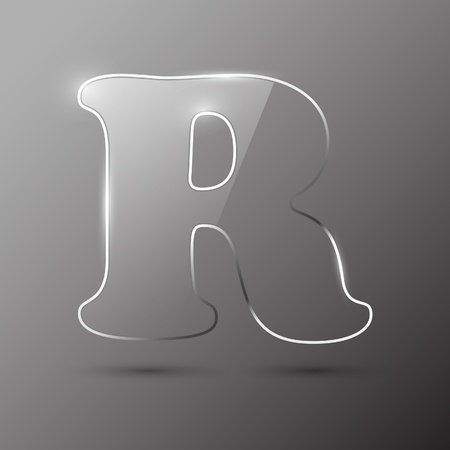 alfabético: Glass letter R. Vector illustration. Ilustra��o