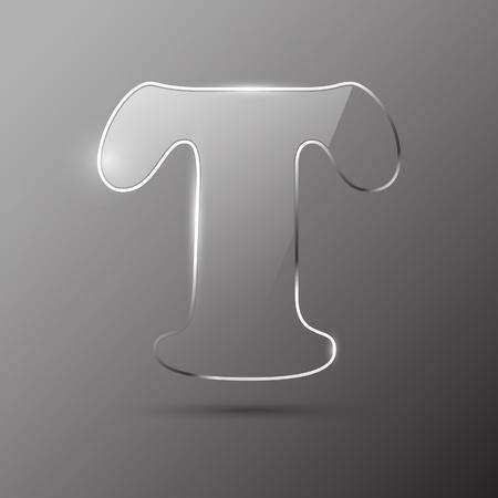 Glass letter T. Vector illustration. Stock Vector - 10399706