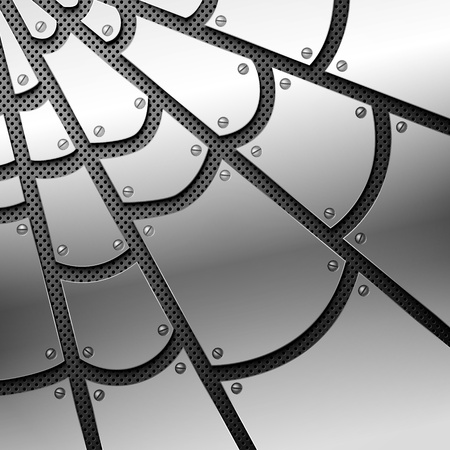 Metallic spiderweb. Vector