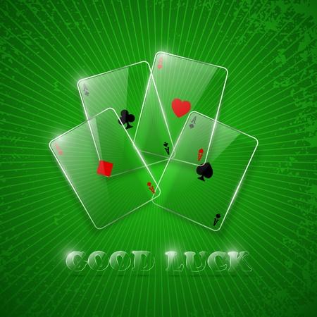 Glass poker aces. Vector illustration. eps10 Vector
