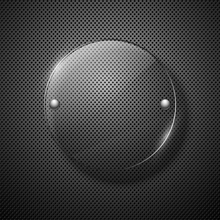 effet: R�sum� fond en m�tal avec cadre en verre. Vector illustration.