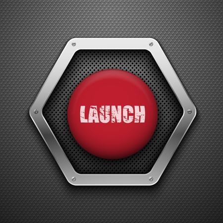 rectangle button: Launch button. Vector background.  Illustration