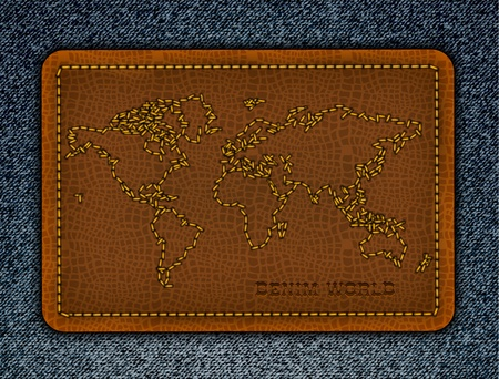World map on aleather label. Realistic vector denim background.  Vector