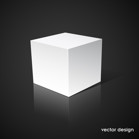 focus on shadow: White cube on a black background
