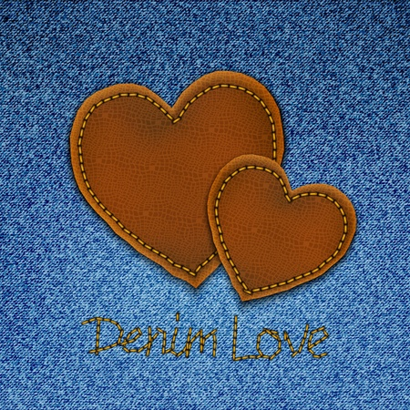 bluejeans: Realistic vector denim background with leather hearts.