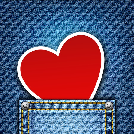jeans texture: Realistic vector denim background with heart.