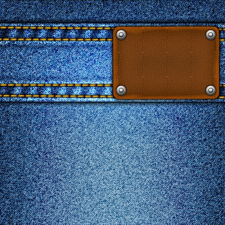 leather stitch: Realistic vector denim background.