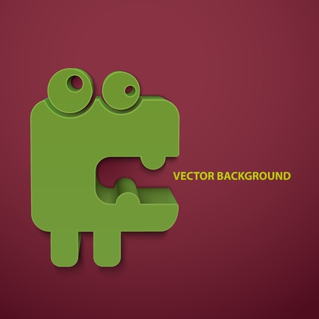 surrealistic: Abstract vector background with cartoon monster.