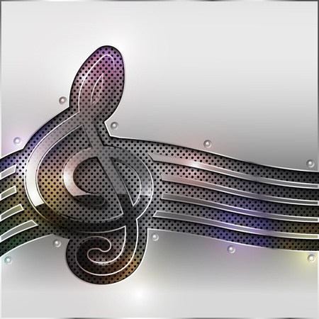 Abstract metal background with glass clef. Vector illustration. Vector