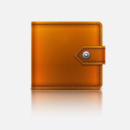 現実的なベクトル レザー折財布Eps10。