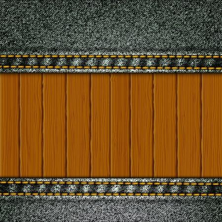 Realistische vector denim achtergrond met houten elementen.