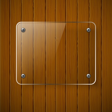 glass fence: Wooden texture with glass framework. Vector illustration