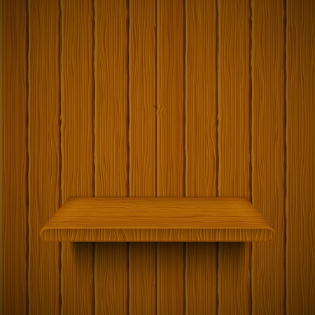 Wooden texture with shelf. Vector illustration  Ilustração