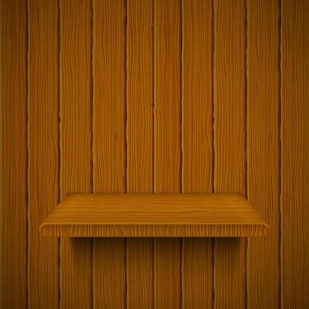 wooden shelves: Wooden texture with shelf. Vector illustration  Illustration
