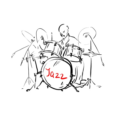 Sketch. Drummer. Vector illustration.