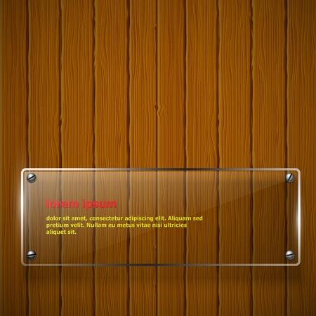 puertas de cristal: Textura de madera con la ilustraci�n vectorial marco de vidrio