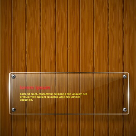 glass fence: Wooden texture with glass framework  Vector illustration  Illustration