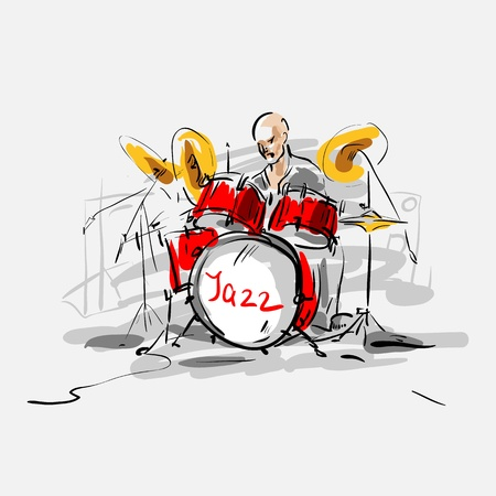cymbol: Sketch  Jazz drummer  Vector illustration