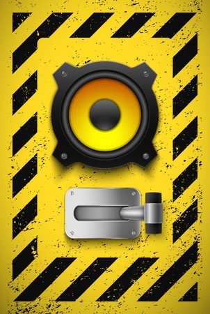toggle: Party design element with speaker and switch  Vector illustration