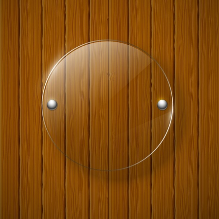 Abstract wooden background with glass framework  Vector illustration  Ilustração