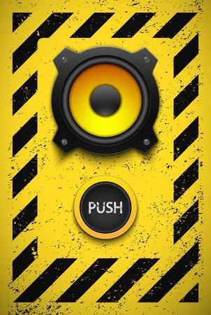 Partij design element met luidspreker en de knop Stock Illustratie