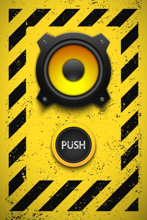 Party design element with speaker and button  Vector