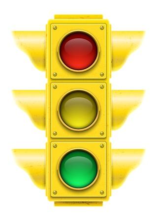 señal transito: La luz realista tráfico de ilustración vectorial