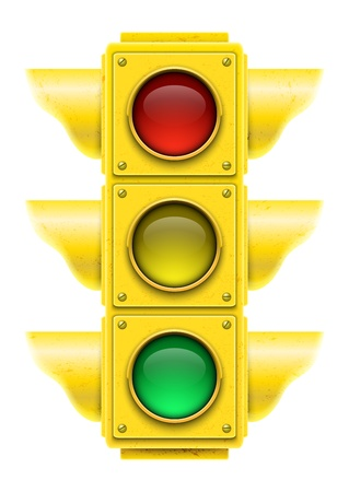 Realistic traffic light  Vector illustration  Ilustração