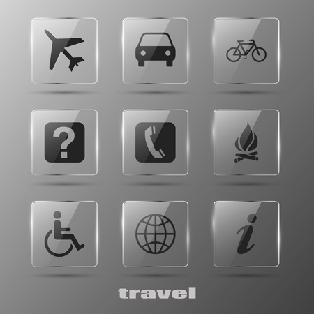 set going: Realistic glass travel  icons Illustration