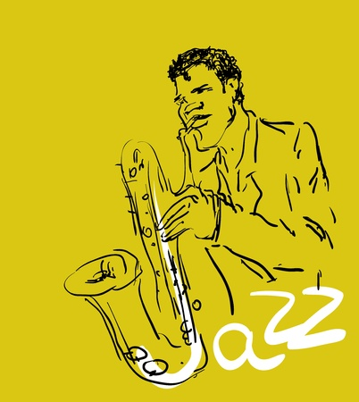 musically: vector stylized saxophone and musician