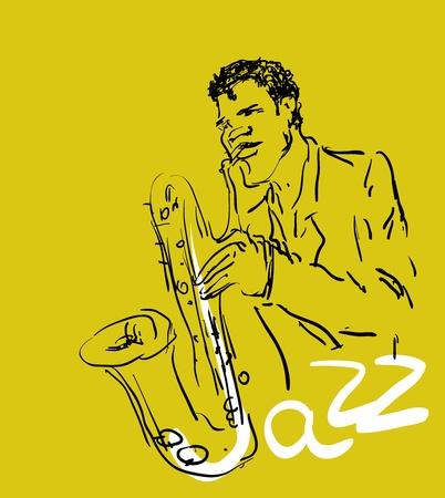 musically: vettoriale stilizzato sassofono e musicista