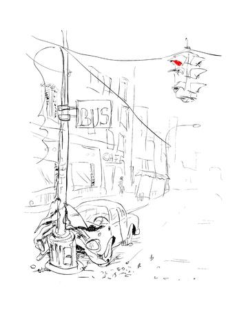 car accident: Car accident  Crash illustration   Illustration