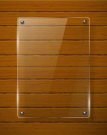 Wooden texture with glass framework  Vector illustration  Ilustração