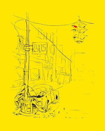 demolishing: Car accident  Crash illustration   Illustration