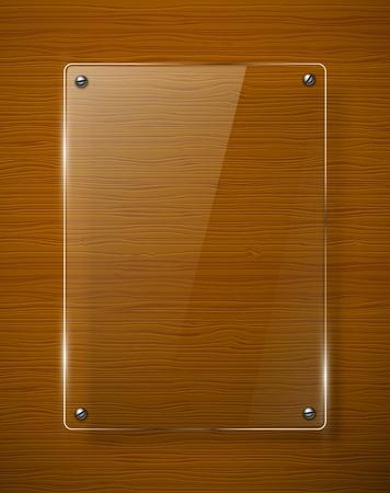 pannello legno: Struttura in legno con illustrazione di vetro quadro Vettoriali