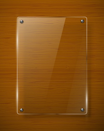 panel: Wooden texture with glass framework illustration  Illustration