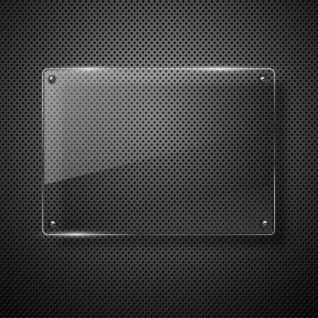 Metallic background with glass framework Vector illustration